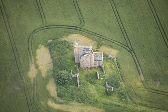 Oblique aerial view of Inchdrewer Castle, looking NNE.