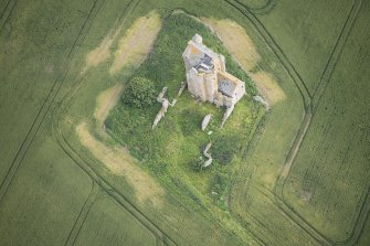 Oblique aerial view of Inchdrewer Castle, looking N.