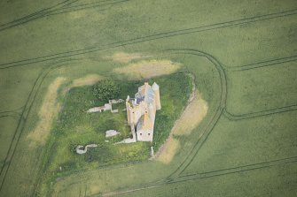 Oblique aerial view of Inchdrewer Castle, looking WNW.