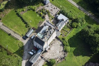 Oblique aerial view of Delgatie Castle, looking NE.