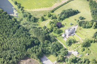 Oblique aerial view of Delgatie Castle, looking SW.
