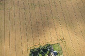 Oblique aerial view of the cropmarks of the round house, looking W.