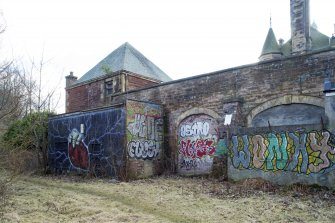 General view of boiler house and graffiti, taken from the north west.