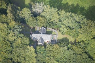 Oblique aerial view of Glencorse Old Parish Church, looking N.