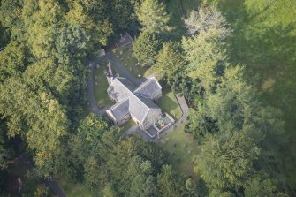 Oblique aerial view of Glencorse Old Parish Church, looking NW.