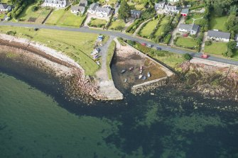 Oblique aerial view of Corrie harbour, looking W.