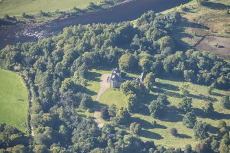 Oblique aerial view of Arndilly House, looking SW.
