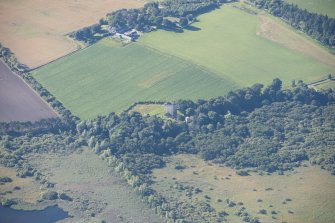Oblique aerial view of Spynie Palace, looking SW.