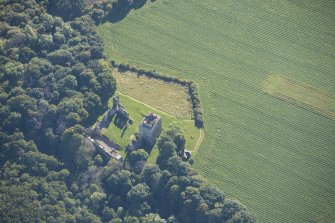 Oblique aerial view of Spynie Palace, looking NE.