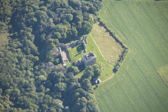 Oblique aerial view of Spynie Palace, looking E.