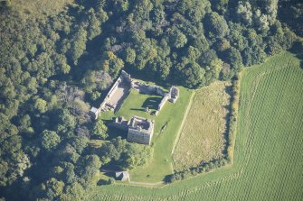 Oblique aerial view of Spynie Palace, looking ENE.