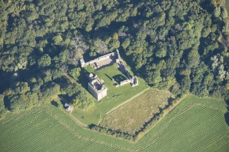 Oblique aerial view of Spynie Palace, looking NNE.
