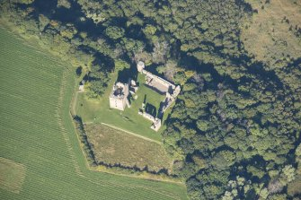 Oblique aerial view of Spynie Palace, looking NW.