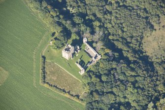 Oblique aerial view of Spynie Palace, looking WNW.