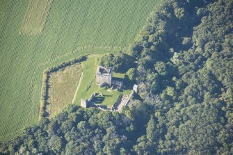 Oblique aerial view of Spynie Palace, looking SSW.