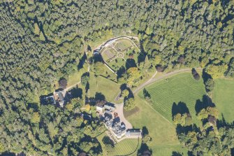 Oblique aerial view of Glenferness House and Walled Garden, looking NNE.