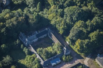 Oblique aerial view of Westhall House Walled Garden, looking S.
