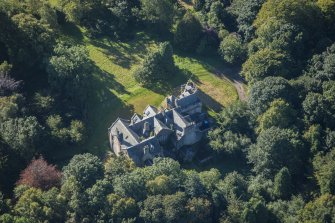 Oblique aerial view of Westhall House, looking SSE.