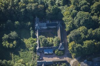 Oblique aerial view of Westhall House Walled Garden, looking SSE.