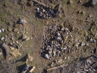 Aerial image of Trench 3 mid-excavation by Ed Martin, east direction is up, Comar Wood Dun, Cannich, Strathglass