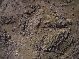 Post-excavation aerial photograph of the dun by Ed Martin, south direction is up, Comar Wood Dun, Cannich, Strathglass