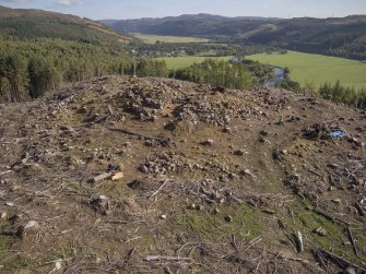 Post-excavation aerial photograph of Trench 1 by Ed Martin, looking east south east over the dun and down Strath Glass, Comar Wood Dun, Cannich, Strathglass