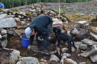 Excavation in progress, north west extension to Trench 1, Comar Wood Dun, Cannich, Strathglass