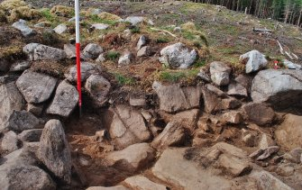 Sourth east facing trench section - showing possible stone courses in centre right, Comar Wood Dun, Cannich, Strathglass