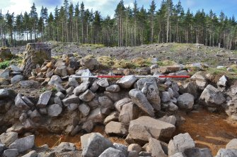 Post-excavation image of east-south-east facing trench section, central section, Comar Wood Dun, Cannich, Strathglass