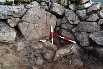 Post setting in the north east corner of Structure 1, Comar Wood Dun, Cannich, Strathglass