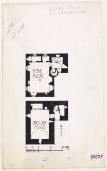 Publication drawing, Greenknowe Tower; plan of ground and first floor. Digital photograph of ink drawing.