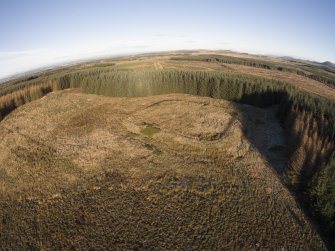 Oblique aerial view of Castle Greg Roman Fortlet.