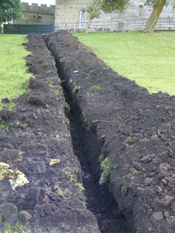 View of the north end of the trench, photograph from an archaeological watching brief at Dundas Castle, South Queensferry