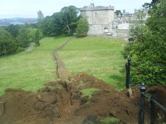 View of the first 120 m of the trench, photograph from an archaeological watching brief at Dundas Castle, South Queensferry
