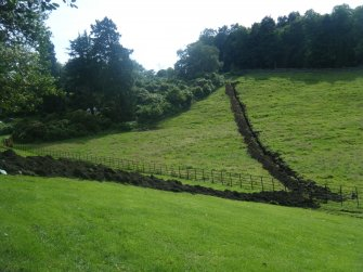 View of the first 120 m of the trench from the castle, photograph from an archaeological watching brief at Dundas Castle, South Queensferry