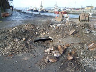 Initial view of the culvert, photograph from watching brief at James Watt Dock, Glasgow