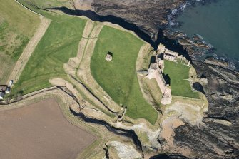 Oblique aerial view of Tantallon Castle, looking NNW.