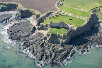 Oblique aerial view of Tantallon Castle, looking SW.