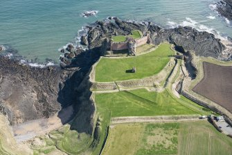 Oblique aerial view of Tantallon Castle, looking ENE.