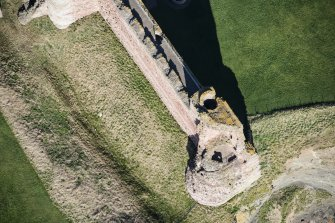 Oblique aerial view of the East Tower at Tantallon Castle, looking NNW.
