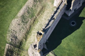 Oblique aerial view of the East Tower at Tantallon Castle, looking WNW.