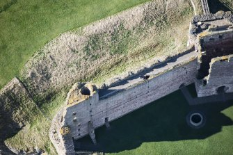 Oblique aerial view of the East Tower at Tantallon Castle, looking WSW.