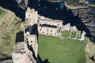 Oblique aerial view of the Douglas Tower at Tantallon Castle, looking NNW.