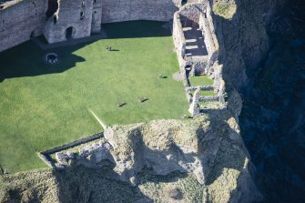 Oblique aerial view of the inner court of Tantallon Castle, looking WSW.