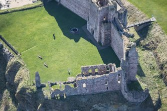 Oblique aerial view of the Douglas Tower at Tantallon Castle, looking SSE.