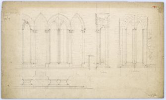 Drawing of windows at south side of chancel showing elevation and section, Beauly Priory