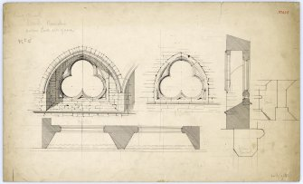 Drawing of windows at south side of nave in Beauly Priory showing plan, elevations and section.