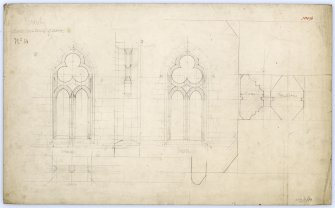 Drawing of north windows of nave in Beauly Priory showing sections and elevation.