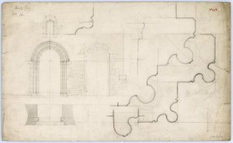 Drawing of plan and elevation of west door, Beauly Priory.