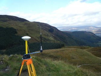 GPS base receiver, photograph of Dun Deardail, from a topographic archaeological survey at five Pictish Forts in the Highlands